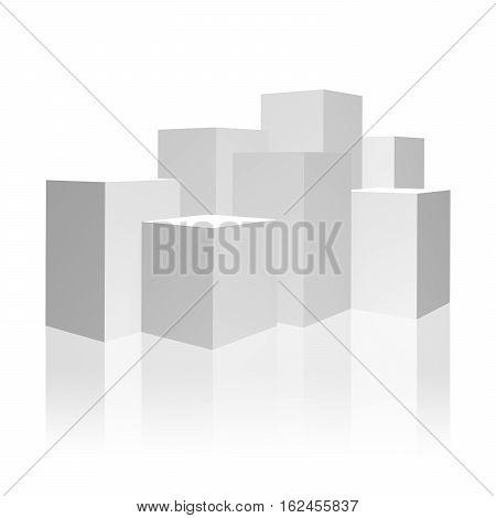 3D illustration. White box. Blank 3d box over white background