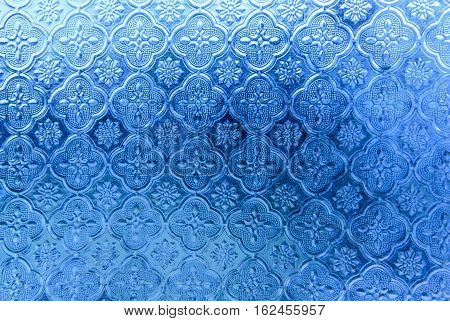 Blue vintage glass Pattern, texture, background. stock photo