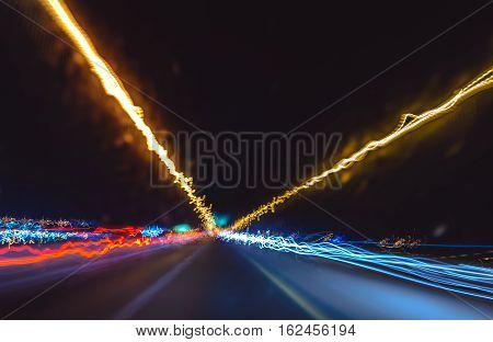 Abstract Motion Lights Background.