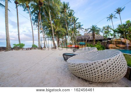 Beautiful chair at beach for relax nature around you.