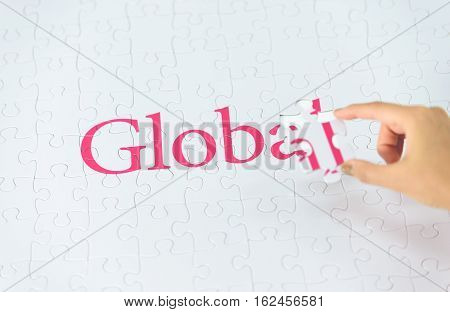 Hand Embed Missing A Piece Of Global Word