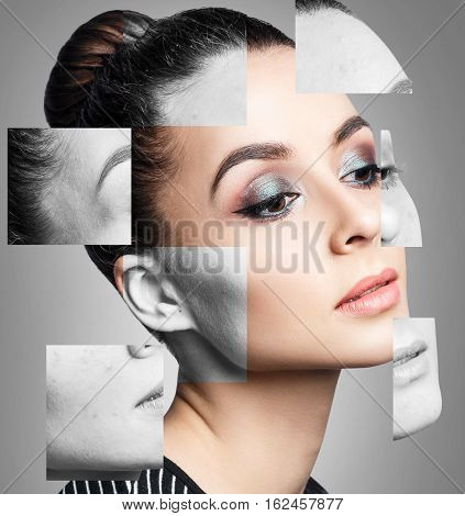 Collage parts of woman face before and after retouch isolated on white