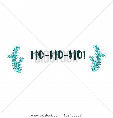 Christmas greeting card on white background with blue elements and text Ho-Ho-Ho