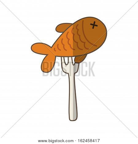 fork with fish meat isolated icon vector illustration design