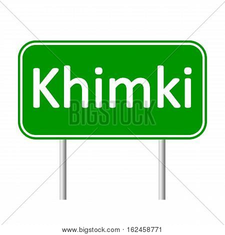 Khimki road sign isolated on white background.