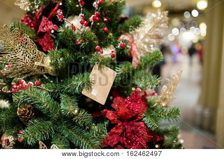 Decorated pine in new year in trading floor