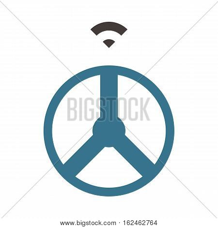 Self driving car - Driving wheel - Flat colored icon - Blue