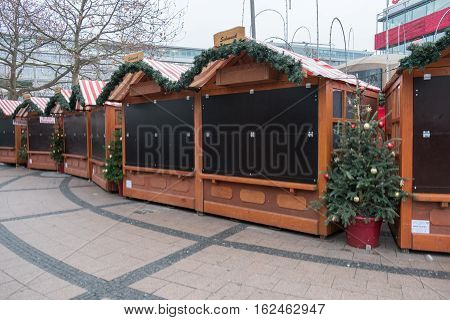 Berlin Germany - december 20, 2016: Closed market stalls at Christmas Market in Berlin the day after a truck drove into a crowd of people.