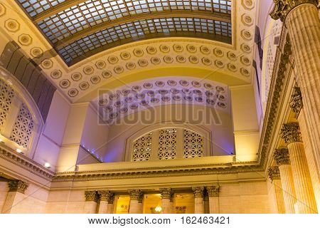 Chicago IL USA october 27 2016: The Great Hall inside Union Station in Chicago Illinois