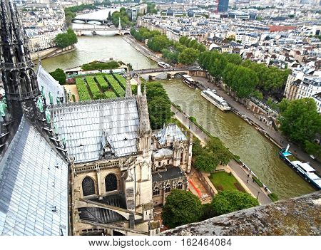 View from the rooftop of Notre Dame Cathedral in Paris, France