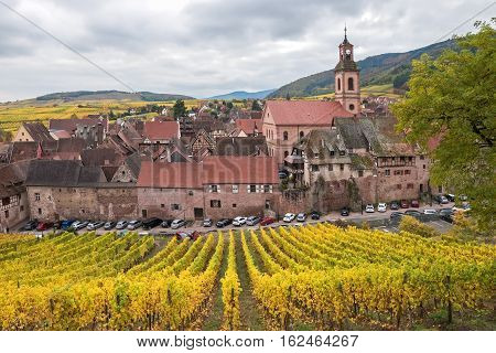 View of Riquewihr from the yellow vines in autumn, Alsace; France