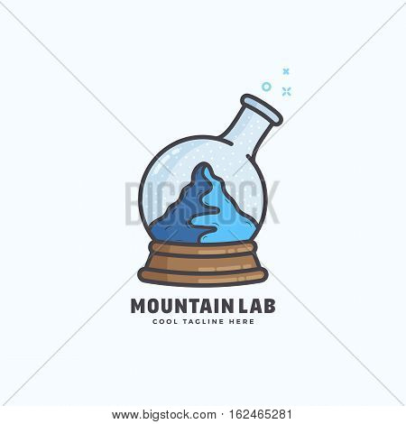 Mountain Lab Abstract Vector Sign, Emblem or Logo Template. Snow Ball and Chemistry Flask Concept Symbol. Isolated.