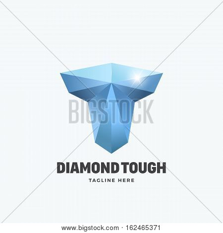 Diamond Tough Letter T. Abstract Vector Emblem, Sign or Logo Template. Strength Symbol. Mighty Torso Silhouette. Isolated.