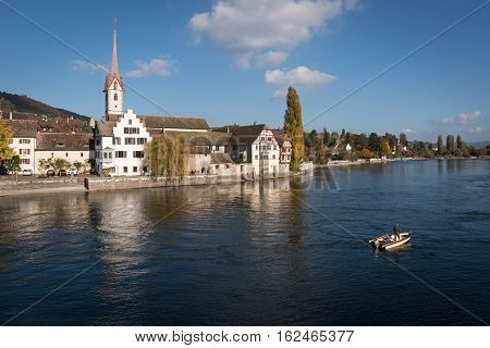 View of the medieval town of Stein am Rhein from the river, Switzerland