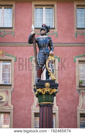 Statue of a warrior decorate the market fountain in Stein am Rhein, Switzerland
