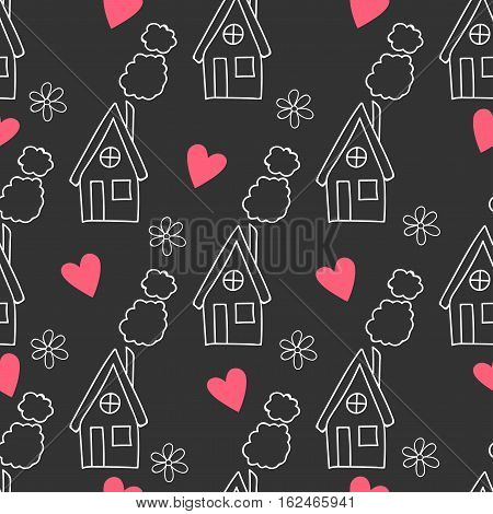 Dark pattern with house, flowers, hearts and clouds.