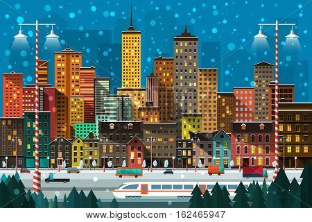 Vector Illustration of a big city with street life, people, cars, houses, skyscrapers, train, fir trees, snowing, Christmas mood, lights.
