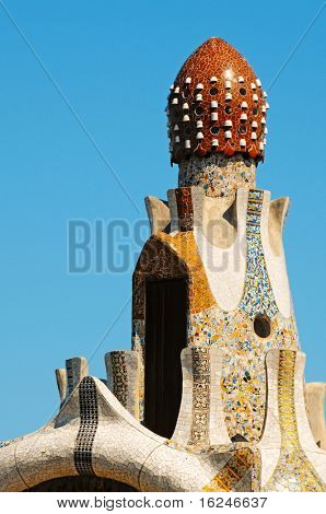 BARCELONA, SPAIN - JUNE 5: The famous Park Guell on June 5, 2010 in Barcelona, Spain. The impressive and famous park was designed by Antoni Gaudi.