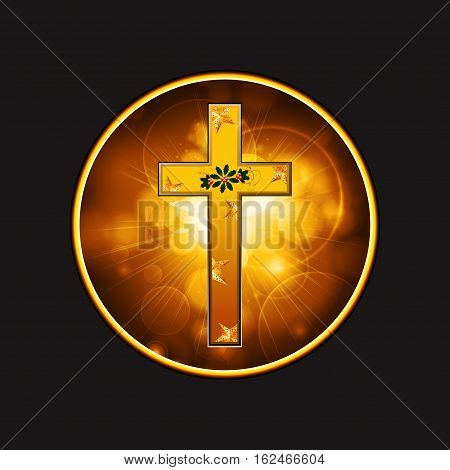 Festive Celebratory Gold Cross with Stars and Flourish in a Golden Glowing Border Over Black