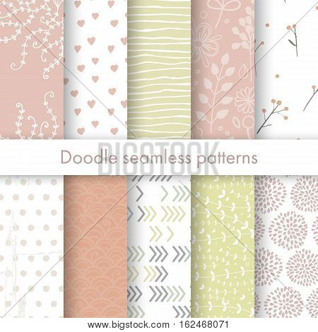 Set of vector spring patterns with flowers, doodle pattern, branches, leaves, dots, hearts. White, pink, yellow colors. Seamless pattern is in the swatches palette.