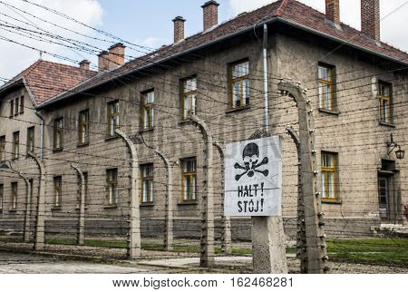 Stop death sign at concentration camp Auschwitz Birkenau KZ Poland