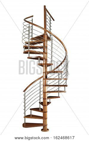 Wooden Spiral staircase isolated on white background