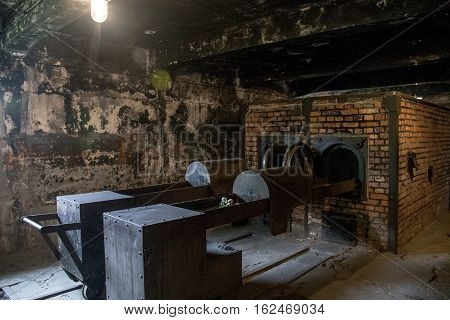 Gas chamber at concentration camp Auschwitz Birkenau KZ Poland