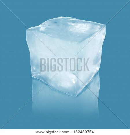 3d illustration ice floe block on winter blue background