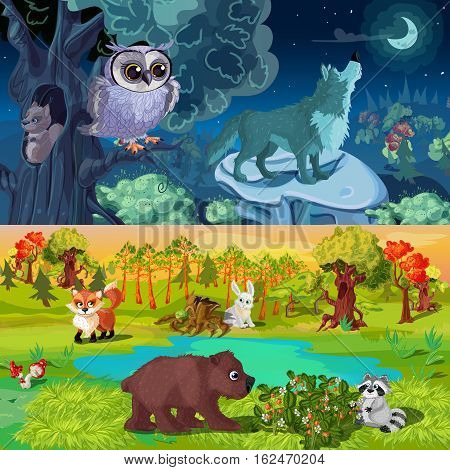 Woodland animals horizontal banners with night forest life and beasts near lake isolated vector illustration