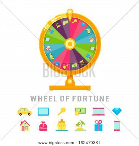 Wheel of fortune conceptual composition with circle lottery device and isolated win icons prize app badges vector illustration