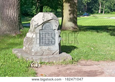 PETERHOF, SAINT - PETERSBURG, RUSSIA - JULY 14, 2016: Alexandria Park. Tomb of Piotr Erler, one of the masters of landscape design in Peterhof park ensembles in 19 century