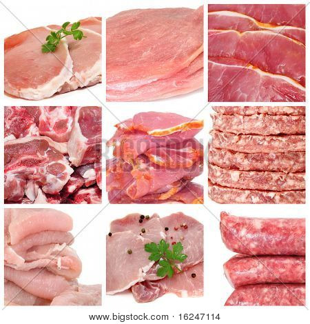 a collage of nine pictures of different meat products
