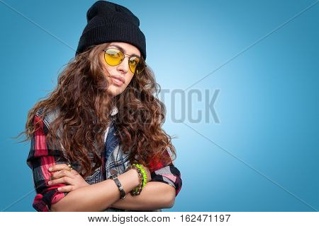 Hipster Girl With Long Curly Hair