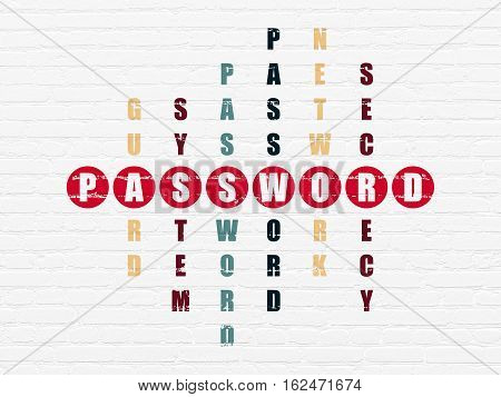 Safety concept: Painted red word Password in solving Crossword Puzzle