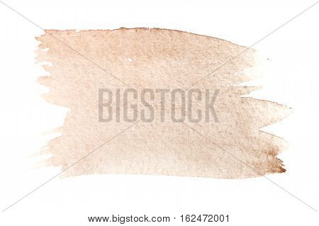 Mars brown watercolor background. The gradient color transition from a saturated brown to light brown. Design elements. Painting. Grunge colorful background on watercolor paper.
