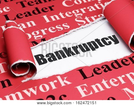Business concept: black text Bankruptcy under the curled piece of Red torn paper with  Tag Cloud, 3D rendering