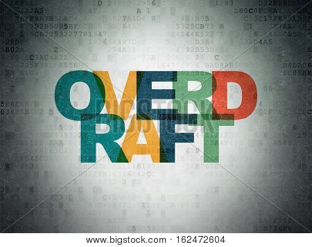 Business concept: Painted multicolor text Overdraft on Digital Data Paper background