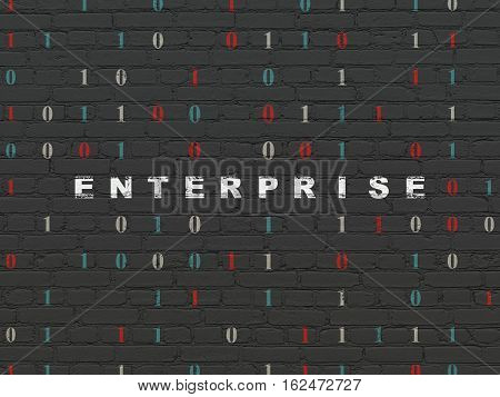 Finance concept: Painted white text Enterprise on Black Brick wall background with Binary Code