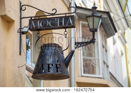 Tallinn, Estonia - June 2, 2016: Signboard Of Vintage Cafe In The Historical Center Of City. Tallinn