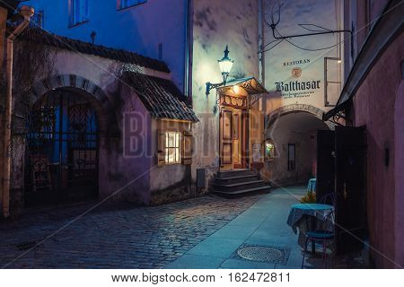 Tallinn, Estonia - June 02, 2016: Medieval Street And Restaurant Balthasar In The Historical Centre