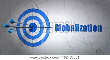 Success finance concept: arrows hitting the center of target, Blue Globalization on wall background, 3D rendering