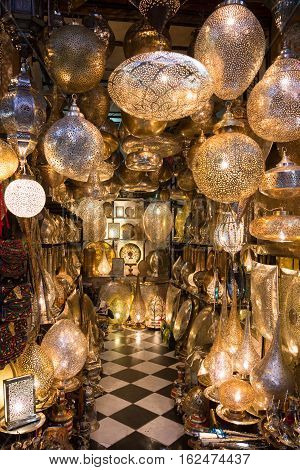 Selection of traditional made lamps on in the souks of Marrakech. The traditional Berber market is one of the most important attractions of the city.