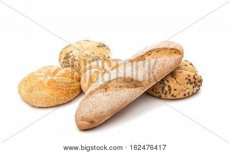 Kaiser bun baking bread on a white background