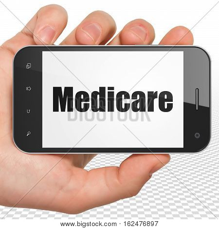 Healthcare concept: Hand Holding Smartphone with black text Medicare on display, 3D rendering