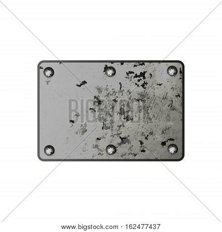 Vector metal plate screwed screws. Element for design.