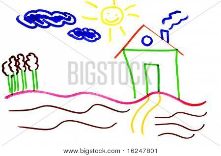 illustration of a house with trees, sun and clouds