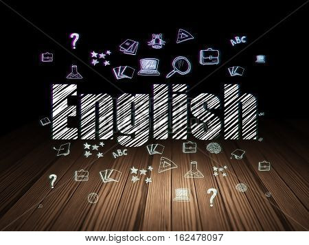 Learning concept: Glowing text English,  Hand Drawn Education Icons in grunge dark room with Wooden Floor, black background