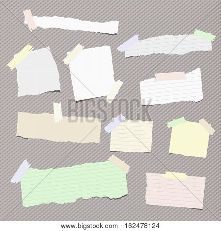 Pieces of different size ripped note, notebook, copybook paper sheets stuck with sticky tape on squared pattern.