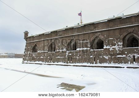 St. Petersburg, Russia - 2 December, Naryshkin bastion Petro Paul Fortress, 2 December, 2016. Land and building the Peter-Paul fortress.