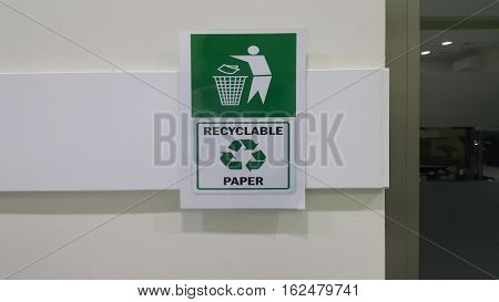 Recycle paper and litter into bins sign